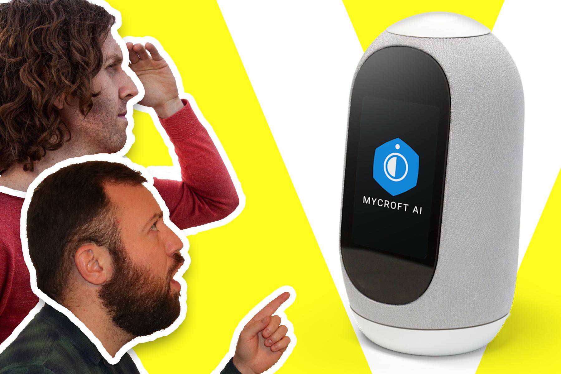 Kane Simms and Dustin Coates looking toward a Mycroft Mark II smart speaker