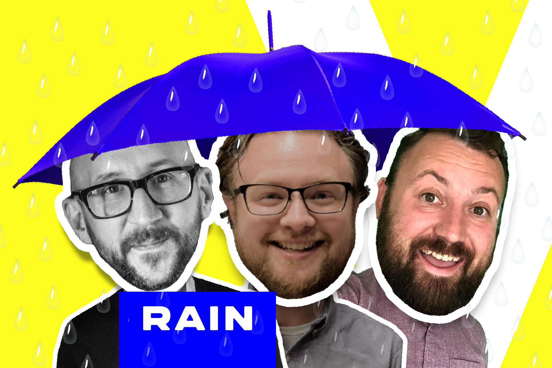 RAIN agency's Will Hall and Jason Herndon with VUX World host, Kane Simms, standing under an umbrella in the rain