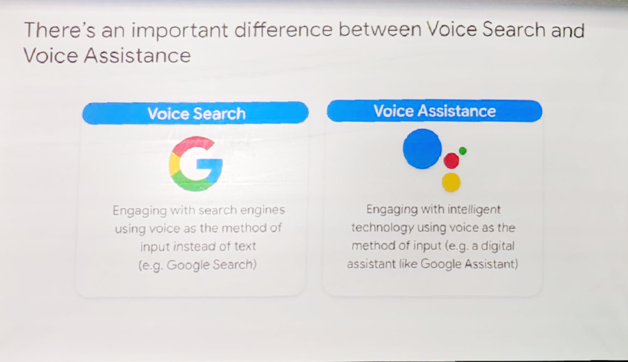 Google's definition of voice search vs voice assistance