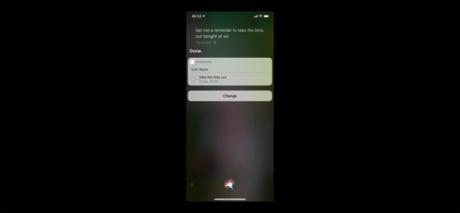 Siri full page confirmation