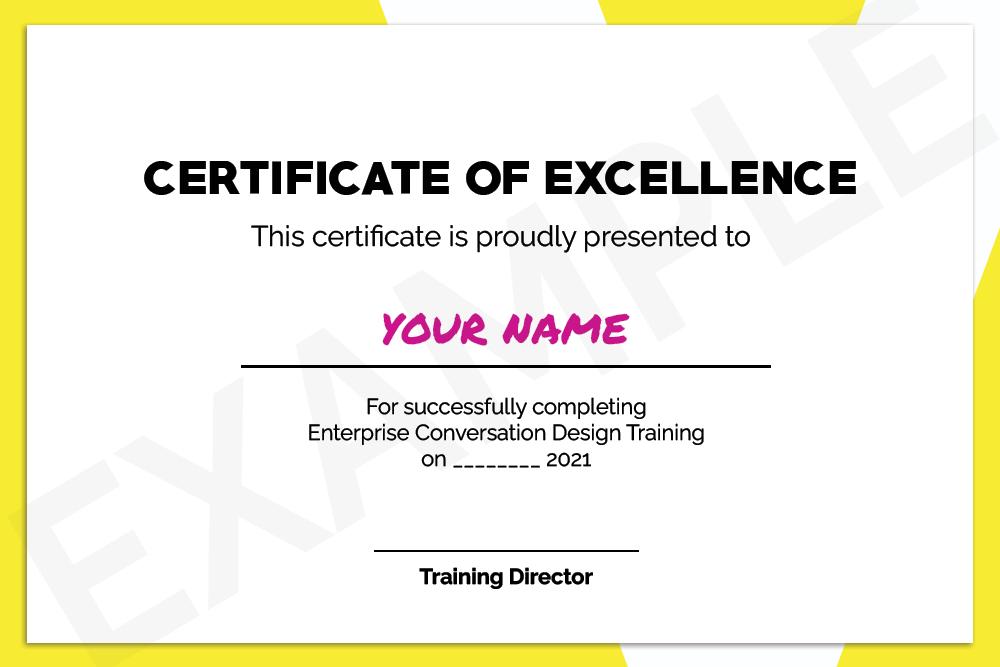 Conversation designer certificate example