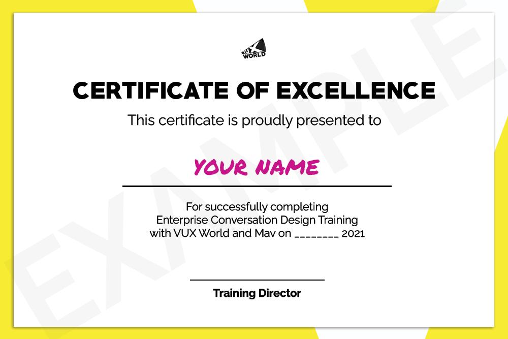 Sample Enterprise Conversation Design Training Certificate of Excellence